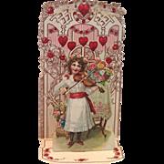 German Stand-Up Valentine ,  Embossed Die-Cut , C. 1900