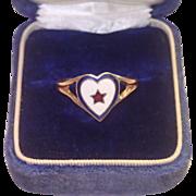 Vintage  10K & Enamel  Sweetheart Ring