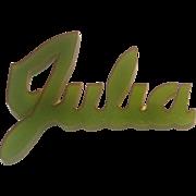 Vintage Bakelite Pin ...  Julia