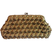 Vintage Silk Satin & Faux Pearl Evening Bag, Japan C.1960
