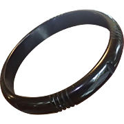 Bakelite Bangle Bracelet , Carved Black C.1930