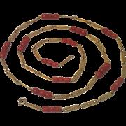 Vintage 18K & Carved Coral Necklace