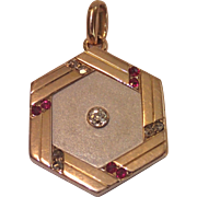 Antique 14K , Diamond & Ruby Locket