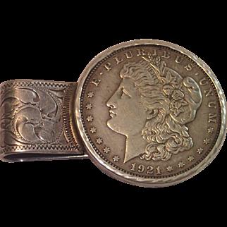 Sterling Money Clip With 1921 Morgan Silver Dollar