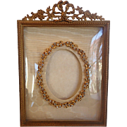 Antique Frame ,  French Brass Easel Back With Rhinestone & Dore' Bronze Mat