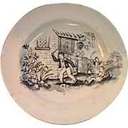 Black Transferware Child's Plate, C.1840