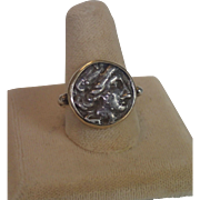 Ancient Coin Ring , 14K & Sterling