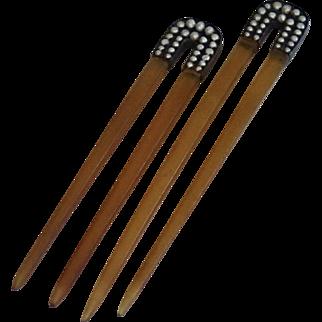Georgian Hair Combs , Natural Pearls & Horn