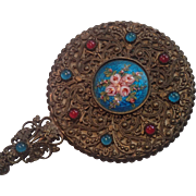 French Hand Mirror,  Brass & Faux 'Jewels', Miniature Size