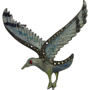 Enamel & 800 Silver Bird Pin With Marcasites