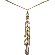 Edwardian Pendant , 14K, Amethyst & Natural Pearls