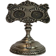 Hotel Silver TABLE WAITER Menu Stand,  The Radisson C. 1909 By Gorham