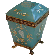 French Opaline Glass Box With Hand Painted Enamel