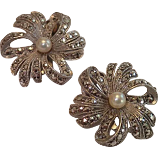Vintage Sterling , Marcasite & Cultured Pearl Ear Clips, West Germany