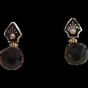 Antique Earrings ;  14K , Onyx, Enamel & Natural Pearls
