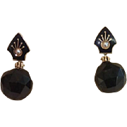 Antique Earrings ;  14K , Onyx, Enamel & Natural Pearls