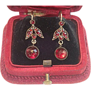 Antique Czech Garnet & Paste Earrings In Gilt Metal