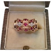 Vintage Ring , 14K Rose Gold , Natural Rubies & White Gold Topped Diamonds