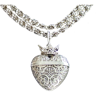 Antique Silver Locket & Chain, French C. 1900 ... Over 3 OZ.