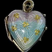 Antique Locket Heart Charm , 9K Rolled Gold & Enamel