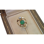 Art Nouveau Stick Pin ; 14K , Chrysoprase & Natural Pearl - Red Tag Sale Item