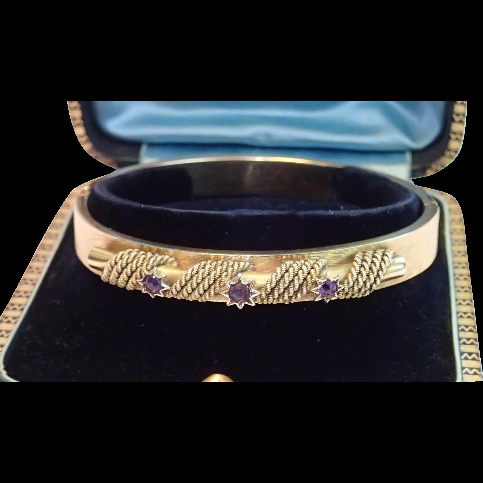 Antique Bangle Bracelet , 15 CT. & Amethysts