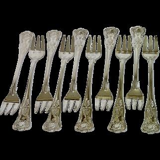 Fairmont Hotel Cocktail Forks , Set Of Ten , Kings Pattern