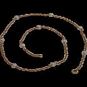Vintage 14K & Cultured Pearl Station Necklace