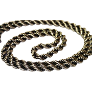 "Vintage Sterling Rope Chain , 23"" Long"