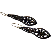 Vintage Earrings , Jet & 14K , C. 1920
