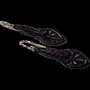 Reserved for P B ....Vintage Earrings , Jet & 14K , C. 1920