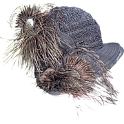 Vintage Cloche Hat ;  Straw & Horsehair, Accented With Feathers & Flowers