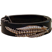 Victorian Bangle Bracelet ,  Onyx, 14K Rose Gold & Seed Pearls