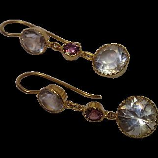 Antique Earrings, 15 CT Yellow Gold , Quartz Rock Crystal & Garnet