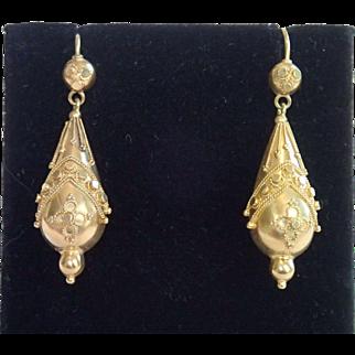 Etruscan Revival Earrings , 15 CT. , C. 1870