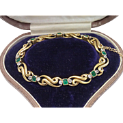 Sale Pending for J S ...... French Bracelet ;  18 CT,  Emeralds , Diamonds & Platinum