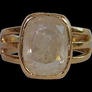 Antique Ring, 18 CT Yellow Gold & Rock Quartz Crystal