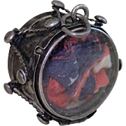 Sterling Drum Locket Charm With Mother Of Pearl, C. 1920