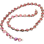 "Georgian Riviere Necklace , Foiled Pink Paste & Sterling, 16"" Long"