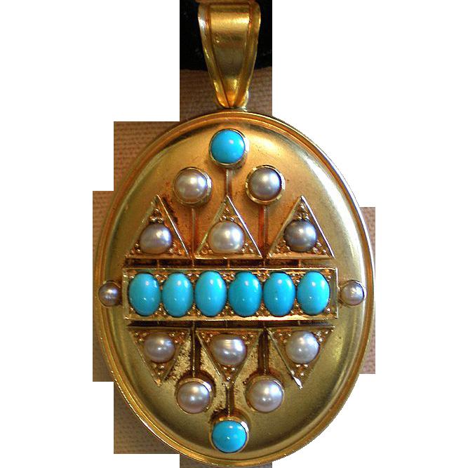 Locket;  Turquoise & Pearls, 15-18K Gold,  English, Circa 1870