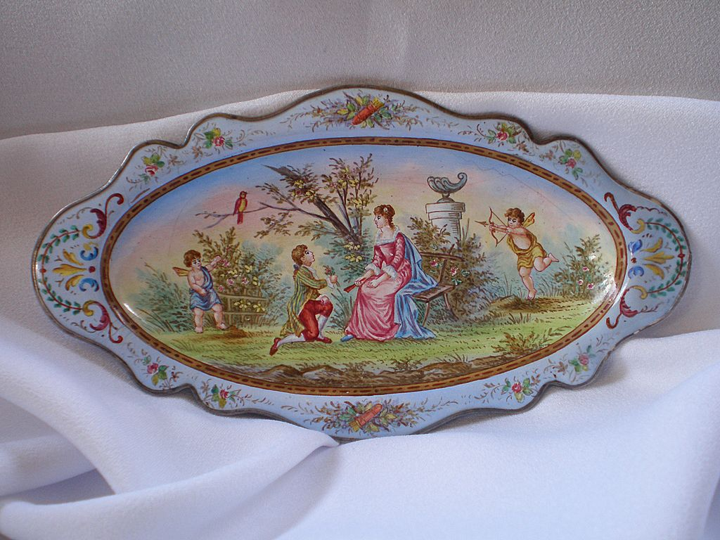 Antique French PIn Tray ,Hand- Painted  Enamel On Silver
