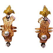 French Poissard  Earrings;  18K , Diamonds & Pearls ,  C. 1790
