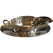 Sterling Silver Sauce Boat With Under Plate , By Webster