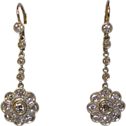 Diamond Earrings;  2.40 Carats ,18K Gold, Platinum Topped , Circa  1920