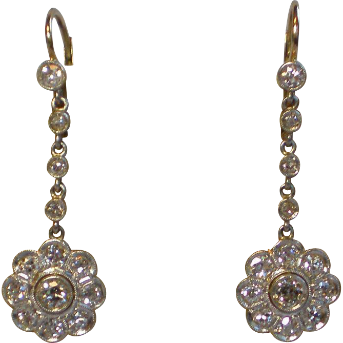 Diamond Earrings;  2.40 Carats ,18K Gold, Platinum Topped , Circa  1920