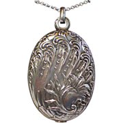 Sterling Slip Locket , French C. 1900 ......  Bold Size , Pristine Condition !