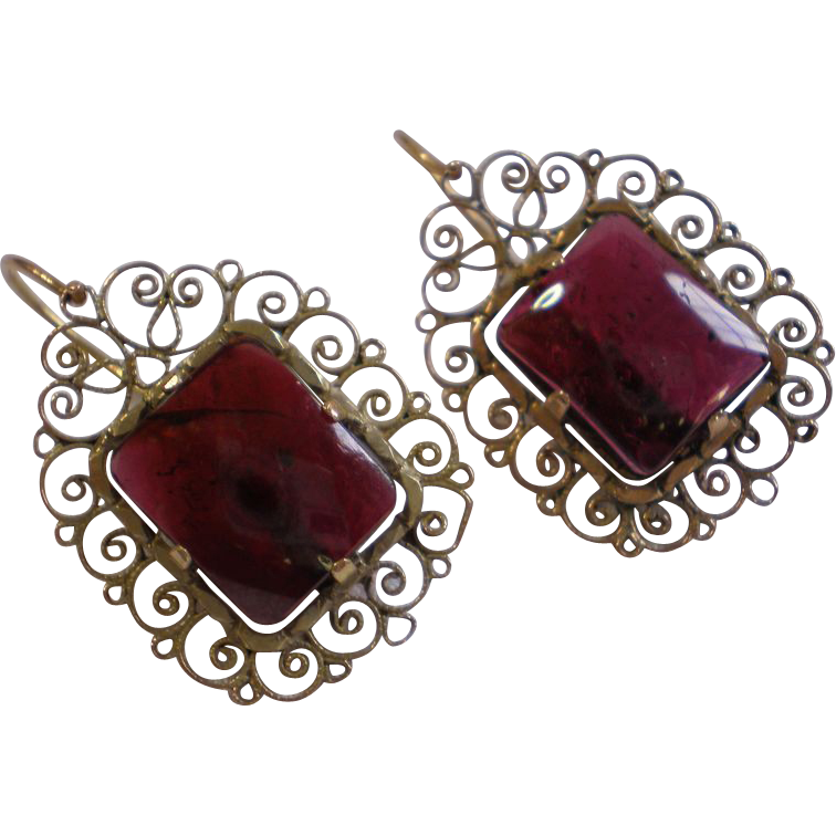 Earrings;   Garnet & 14K,  European , Circa 1860