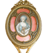 French Bronze Hand Mirror With Miniature & Enamel, C.1900