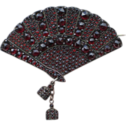 Antique Czech Garnet Brooch; Fan Motif