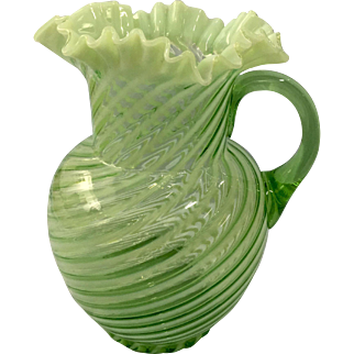 Fenton Green Opalescent Spiral Optic Pitcher c. 1939
